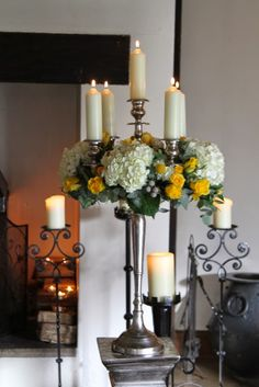 Flower Design Events: Grace & Bobby's Gorgeous Early Spring Wedding Day at The Great Hall at Mains Early Spring Wedding, Summer Wedding, Wedding Day, Christmas Wedding Themes, Yellow Wedding Flowers, Lemon Yellow, Flower Designs, Floral Arrangements, Candle Holders