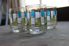 Retro Juice Glasses Geometric Pattern Blue by SouthernVintageGa, $12.00