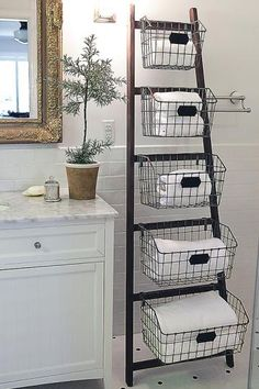 Waldon Bathroom Ladder with Wire Baskets | HomeDecorators.com