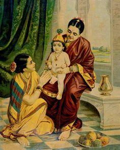 Krishna and Balarama meet their parents. Painting by Raja Ravi Varma. Ravivarma Paintings, Indian Paintings, Krishna Painting, Krishna Art, Indian Gods, Indian Art, Raja Ravi Varma, Saraswati Goddess, Hindu Deities