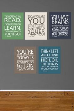 Dr Seuss Set of 5 prints, Kids Decor, Baby Decor, The more that you read. Baby Boy Inspirational Art- 8X10- Today you are you Nursery Prints on Etsy, $55.00