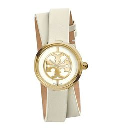 The Reva Double-Wrap Watch, named after Tory's mother and featuring a double-T logo dial