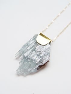 "friedasophiejewelry: "" Barite Necklace by Friedasophie https://www.etsy.com/listing/261799760/blue-barite-crystal-necklace-gold-ooak?ref=shop_home_active_1 """