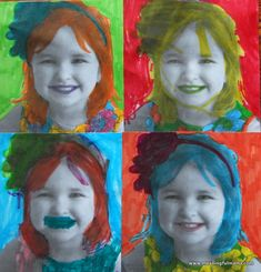 """SUCCESS: Self-portrait, Andy Warhol style  So after one, S was bored and wanted to """"come back to it later"""" but I insisted, and told her that if a three-year-old and five-year-old sister could do this project in one sitting, so could she. We looked at some of Andy Warhol's art to get us back on track, and then she went crazy with it. LOVED it!"""