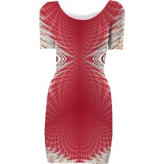 Red Beige Geometric Bodycon Dress from Print All Over Me