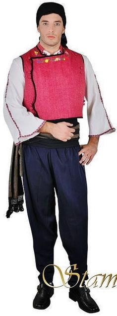 Traditional costume from the Evros region (Greek Thrace, on the border with Turkey). Clothing style: Greek, early 20th century.  This is a contemporary workshop-made copy, as worn by folk dance groups.  (Source: Stamco Costumes; www.greek-costumes.com). Greek Costumes, Folk Dance, Folk Costume, Traditional Outfits, Rum, Harem Pants, Ottoman, Workshop, Turkey