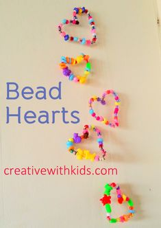 Pipe Cleaner Bead Hearts - preschooler activity