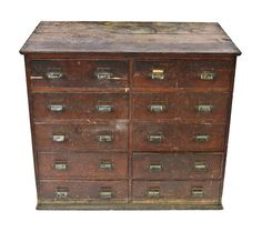 original antique american industrial solid oak wood yawman factory office 10-drawer filing cabinet with finished sides contained raised panels - Products