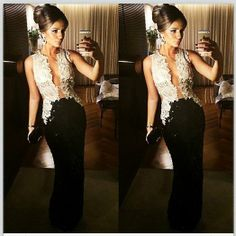 Vestido longo de festa Preto e Branco! Black Dress!