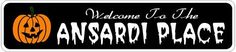 ANSARDI PLACE Lastname Halloween Sign - Welcome to Scary Decor, Autumn, Aluminum - 4 x 18 Inches by The Lizton Sign Shop. $12.99. Aluminum Brand New Sign. Rounded Corners. Predrillied for Hanging. 4 x 18 Inches. Great Gift Idea. ANSARDI PLACE Lastname Halloween Sign - Welcome to Scary Decor, Autumn, Aluminum 4 x 18 Inches - Aluminum personalized brand new sign for your Autumn and Halloween Decor. Made of aluminum and high quality lettering and graphics. Made to las...