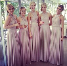 One of our best selling colours for bridesmaids - the stunning Blush Pearl. Just amazing on  our beautiful Goddesses (bridal party) in their @goddessbynature Signature Ballgowns from stockist Stellar Formal Wear & Bridal #goddessbynature #goddessdress