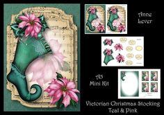 Victorian Christmas Stocking - Teal &amp Pink by Anne Lever This lovely mini kit makes an A5 topper with extra plaque decoupage six greetings a blank greetings tile four gift tag toppers and a matching insert.