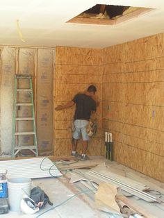 Osb Plywood, Plywood Walls, Wooden Walls, Painted Osb, Painted Garage Walls, Garage Drywall, Wooden Wall Design, Garage Interior