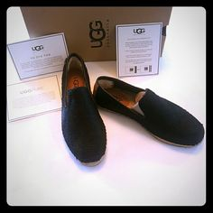 New in box Ugg Sandrinne Calf Hair Scales Slip-On New in box....never worn Black UGGpure wool Sandrinne Calf Hair Scales. Heel Counter Lining:100% Wool Lining Backing:100% Polyester  Real fur from Lamb. Made in China  Size: 7 UGG Shoes Flats & Loafers