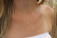 24k Goldfilled letter necklace  Gold initial by HLcollection, $29.00