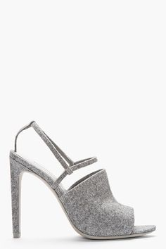 ALEXANDER WANG Grey Wool Slingback Maryna Sandals. These are seriously the sleekest, chicest autumn sandal. Shoes for my alter ego, city chick, vogue as hell wannabe babe on the inside. :D