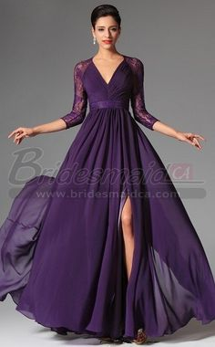 Image of Lace Purple Bridesmaid Dress with Long Sleeve