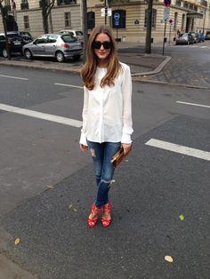Olivia Palermo in Paris (AG Jeans, Susan Woo top, Aquazzura heels, Westward Leaning sunglasses, Chloe clutch)