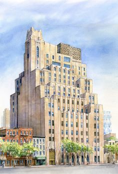 watercolor rendering of stella tower nyc ralph walkers 1927 new york telephone co stella tower named for the architects wife renovation and condo - Hells Kitchen Neighborhood