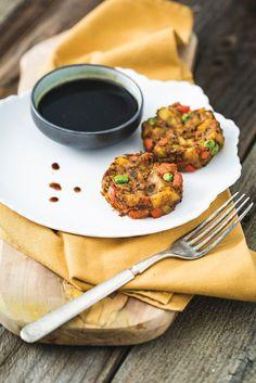Potato & Pea Samosa Cakes from I Could Never Go Vegan | HealthySlowCooking.com
