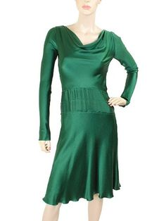 Green Dress - Pin It :-) Follow Us :-))  azDresses.com  is your  Dresses Product Gallery.  CLICK IMAGE TWICE for Pricing and Info :) SEE A LARGER SELECTION of green dresses at http://azdresses.com/category/dress-categories/dresses-by-type/green-dress/ - women, womens fashion,dress,womens dresses -  Alberta Ferretti Dress – Emerald Green Silk Long Sleeve Dress MINT US2 « AZdresses.com