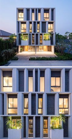 The facade of these townhouses have set back windows, so that the angled concrete sections provide shade for the interior, as well as visual interest from the street. You are in the right place about Modern Architecture House, Facade Architecture, Residential Architecture, Beautiful Architecture, Building Facade, Building Exterior, Facade Design, Exterior Design, House Design