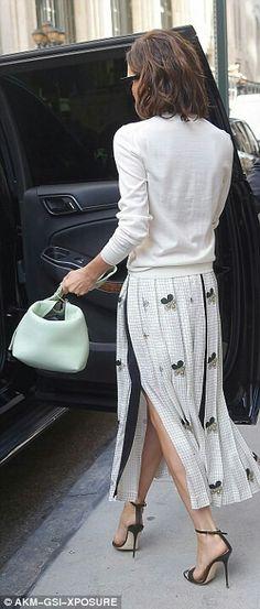 JULIELINGMA · Victoria Beckham, White Jumper, Long White Embellished Skirt, Mint Green Mini Handbag