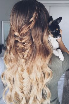 Boho Fishtail Braid on Ombre Hair. Perfect Music Festival Hairstyle