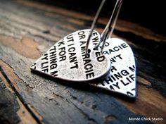 LOVE LETTERS-Stamped Antique Silver Heart Hoop Earrings   ($18 BlondeChick etsy.com)