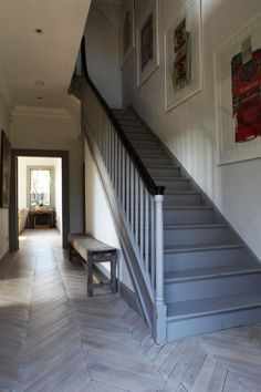 Beautiful rustic farmhouse painted staircase