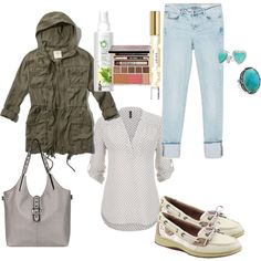 drapey parka by adreyn15 on Polyvore featuring polyvore fashion style maurices Abercrombie & Fitch Zara Sperry Top-Sider Black Rivet Bling Jewelry Urban Decay Herbal Essences