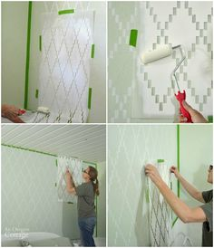Bedroom Makeover Accent Wall Before and After - Painted and Stenciled with Nova Trellis Wall Stencils by Royal Design Studio