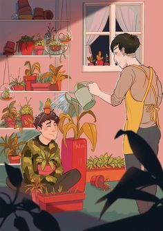 Plant Boy Lester and Camouflage Howell with hobbit hair make a very aesthetic picture
