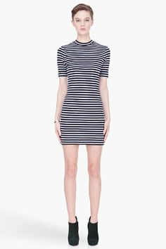 T By Alexander Wang Navy And White Striped Short Sleeve Dress for women | SSENSE