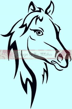 Pferd Gliederung abstrakt Pferd sofort-DOWNLOAD Stickerei-Entwurfsmuster