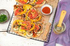 Podpłomyki z warzywami, przepis wegański Ratatouille, Bruschetta, Chili, Tacos, Curry, Pizza, Mexican, Vegan, Ethnic Recipes