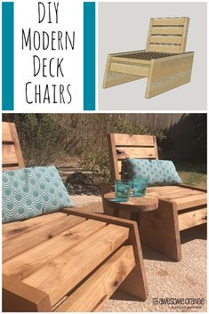 Woodworking Designs DIY Modern Deck Chairs - Full tutorial on how to make your own! Diy Furniture Plans, Diy Outdoor Furniture, Woodworking Furniture, Outdoor Chairs, Woodworking Projects, Rustic Furniture, Modern Furniture, Diy Furniture For Beginners, Outdoor Dining