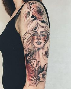 Awesome Sleeve Tattoos For Women Which You Will In Love With; Sleeve Tattoos For Women; Tattoo Girls, Girls With Sleeve Tattoos, Best Sleeve Tattoos, Tattoo Sleeve Designs, Nature Tattoo Sleeve Women, Tattoo Nature, Girl Tattoo Designs, Ladies Hand Tattoos, Back Tattoos For Girls