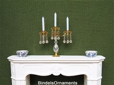 Three armed Swarovski candlestick with pendants