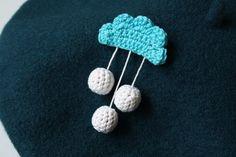 crochet cloud brooch with three dangling drops handmade by XauXau, $15.00