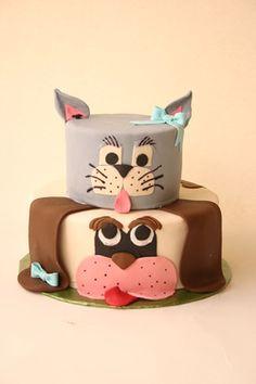 Cat and dog cake- this made me think of Zac! @cheryl turner