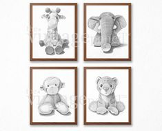 "******DIGITAL PRINT - INSTANT DOWNLOAD****** Title: ""Giraffe, Elephant, Monkey, Tiger Set"" PRINTABLE digital copies of original graphite drawings. Perfect for a nursery. Makes a great Baby Shower gift! These high-resolution PRINTABLE art images are available to instantly download"