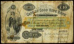 Cape of Good Hope Bank, Ten Pounds, 29 November 1889 Old Money, Banknote, Cape, Coins, November, Room, House, Outdoor, Beautiful
