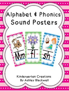 Alphabet and phonics posters that are cute and bright to decorate your class room. This 54 poster set includes every letter of the alphabet, consonant blends, and consonant diagraphs that are kindergarten appropriate. They are colorful and have interesting images to help students learn letter names, sounds, and spelling patterns.