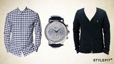 Look в стиле принца Уильяма от #stylepit! Кардиган #Obey 2 099 руб., Рубашка #Kronstadt 949 руб., часы  #Hugo Boss Black 15 699 руб.