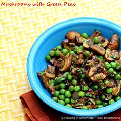 A flavorful mushroom recipes with green peas, from the Healthy Vegetarian Cooking, cookbook.