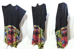 HIPPIE BOHO thai handmade tie dye kimono kaftan caftan black long maxi dress 167 #Unbranded #Maxi #Casual