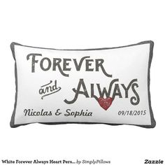 Shop Burlap Forever Always Heart Personalized Wedding Lumbar Pillow created by SimplyPillows. Personalized Pillows, Custom Pillows, Personalized Wedding, Lumbar Pillow, Bed Pillows, Wedding Pillows, White Shop, Designer Throw Pillows, Burlap