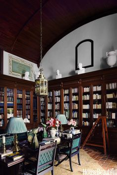 Cuban mahogany library in French chateau in @House Beautiful magazine via Quintessence, photo by Simon Upton