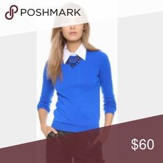 Alice and Olivia cashmere sweater Soft and comfy Alice + Olivia cashmere blue sweater. Removable collar, black elbow patches. In excellent condition, worn once. Amazing cobalt blue color, looks awesome with black leather pants. 100% cashmere Alice + Olivia Sweaters Crew & Scoop Necks